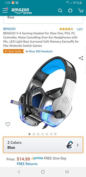 Gaming Headset for Xbox One, PS4, PC, Controller, Noise Cancelling Over Ear Headphones with Mic, LED Light Bass Surround for Mac Nintendo Switch for Sale in Tempe, AZ