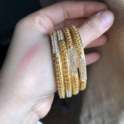 22k Gold Plated Bangles Bracelet Size 2-4 And 2-6 Available for Sale in Silver Spring,  MD