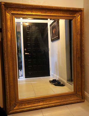 Large wall mirror with gold frame and beveled edge 4' X 5' for Sale in Boca Raton, FL
