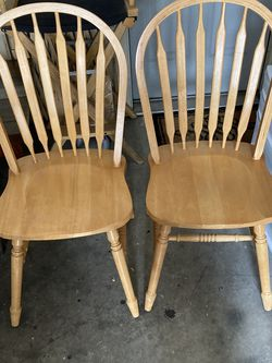 Firm Price Set Of 2 Solid Wood Dining Chairs for Sale in Durham,  NC