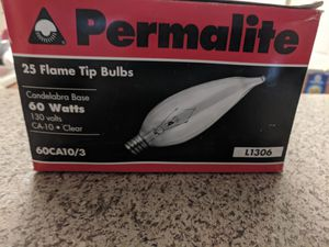 Flame tip bulbs candelabra CLEAR .21-count for Sale in Denver, CO