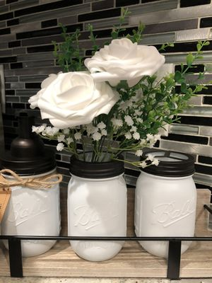 Kitchen Set or Bathroom Set Foaming Dispenser and Mason/ Vase With Toothbrush Holder (Artificial Flowers and Wooden Box/ Tray Not Included) for Sale in City of Industry, CA