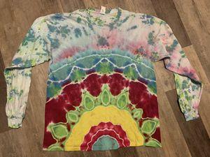 Handmade cotton tie dye long sleeve TShirt hippie boho shabby groovy flower mandala Unisex Adult XL for Sale in PA, US