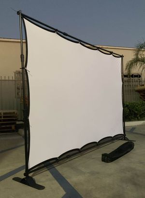 NEW 120 Inch Wrinkle Free Indoor Outdoor Projector Screen with 10x8 Feet Telescopic Banner Stand and Carrying Bag for Sale in Los Angeles, CA