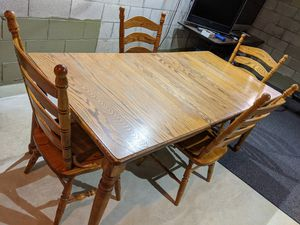Solid Oak Dining Table & Four Chairs for Sale in Gahanna, OH