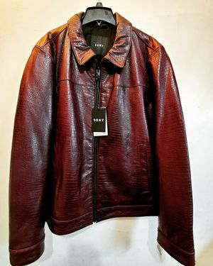 DKNY Leather Jacket Cranberry for XMas for Sale in Bronxville, NY