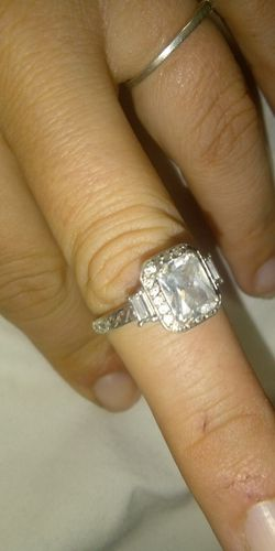 White emerald and diamonds white gold wedding ring for Sale in Denver,  CO