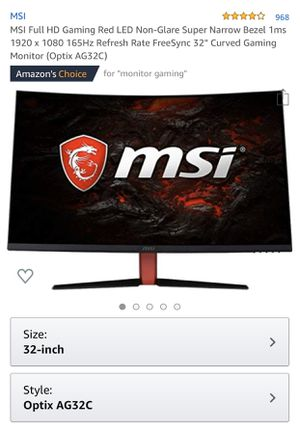 "NEW MSI Full HD Gaming Red LED Non-Glare Super Narrow Bezel 1ms 1920 x 1080 165Hz Refresh Rate FreeSync 32"" Curved Gaming Monitor (Optix AG32C) for Sale in Compton, CA"