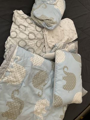 Baby blue, gray and white crib set for Sale in Lorton, VA