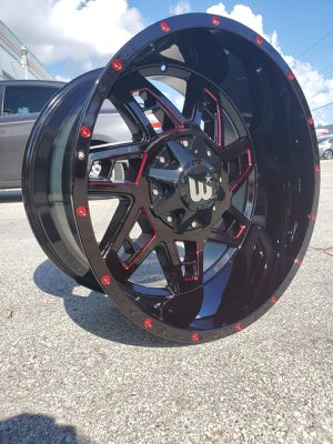 Jeep wheels 22x12 ET-44 gloss black Red milling for Sale in Tamarac, FL