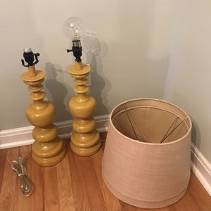 Mustard yellow lamps and tan shades for Sale in Columbus, OH