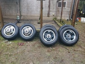2016 GMC dually wheels and studded snow tires - 245/70R17 for Sale in Kent, WA