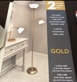 Gold 2 piece lamp set(new) for Sale in Philadelphia, PA