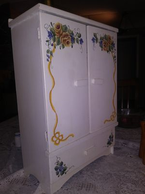 Roses hand painted curio display case for Sale in San Antonio, TX
