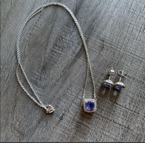 Bundle of Genuine Tanzanite and Diamond Earring and Necklace Set for Sale in South San Francisco, CA