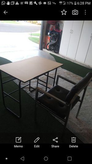 White and black desk with leather black chair for Sale in Bakersfield, CA