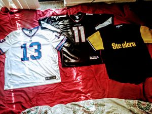 #10 Steelers stitched starter jersey with Black Yellow size 2XL Black & Red #11 Cardinals XL equipment Reeboks & last #13 Gaints XL for Sale in Phoenix, AZ