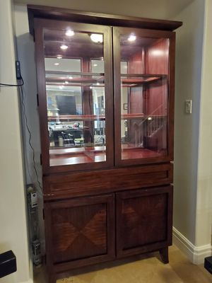 Two-piece walnut hutch with touch light for Sale in Henderson, NV