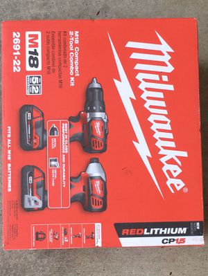 Milwaukee 2691-22 18-Volt Compact Drill and Impact Driver Combo Kit *BRAND NEW* for Sale in Fremont, CA