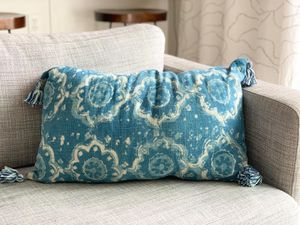 Two sided blue accent pillow for Sale in Auburn, WA
