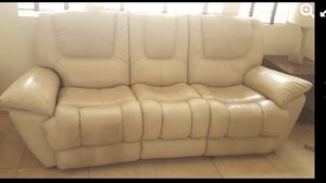 """STUNNING NICE DESIGN LUXURY, ELEGANT, BEIGE COLOR """" LEATHER """" POWER RECLINER SOFA IN GOOD CONDITION.. for Sale in Las Vegas, NV"""