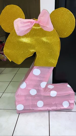 Minnie Mouse pink and gold Piñata and balloon for Sale in San Bernardino, CA