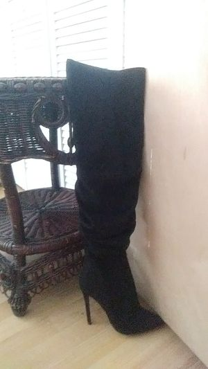 7 1/2. Black suade stilleto heeled thigh high boots for Sale in Miami, FL