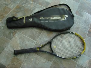 Oversized Hyper Hammer Tennis Racket by Wilson all black with yellow highlights on the top with brand new string and cushioned grip includes bag for Sale in Duluth, GA