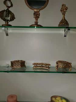 Decorative French gold Vanity set with mirror tray, brush, perfume viles, and jewelry box for Sale in Los Angeles,  CA