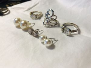 Earring and Ring Bundle set (look alike diamonds and pearls) for Sale in Hoffman Estates, IL