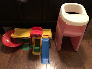 Doll high chair and Little People car wash/parking garage for Sale in Mesquite, TX