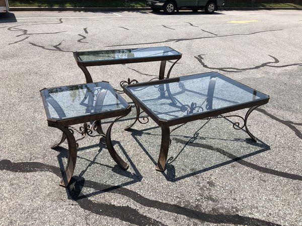 Table set iron glass top coffee cocktail end sofa console table 3pc
