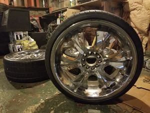 20' chrome ROX wheels with 2 brand new tires for Sale in Martinsburg, WV