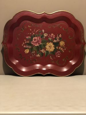 X-Large Tole Tray With Hand Painted Flowers for Sale in Bunker Hill, WV