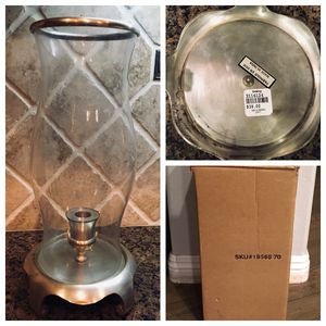 bombay co company glass with silver base hurricane candle / taper holder - NEW in box for Sale in Santa Ana, CA