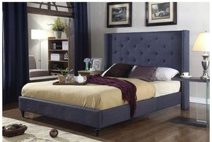 """Cloth Charcoal Blue Linen 51"""" Tall Headboard Platform Bed with Slats King ($150 frame only) for Sale in Washington, DC"""