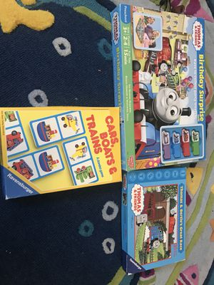 Thomas the train game and puzzles and domino game for Sale in Niles, IL