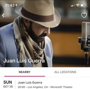 Juan Luis Guerra 10/20/19 Tickets for Sale in West Hollywood, CA