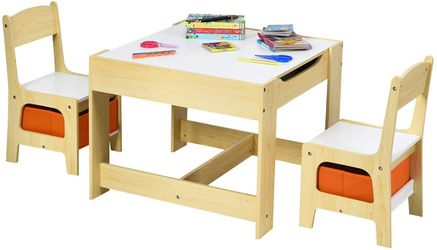 Kids Wood Table & 2 Chair Set, Children Activity Table Desk Sets w/Storage Drawer for Sale in Los Angeles,  CA