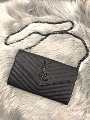 Black ysl clutch bag purse real leather and all black chain for Sale in Ontario, CA