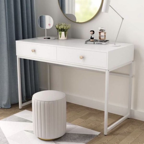 All White Table - Computer Desk - Vanity Table
