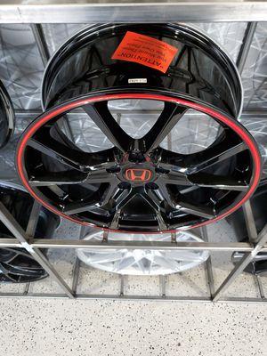Honda FK black with red strip wheels fist civic accord 18x8 et41 5x114 rim wheel tire shop for Sale in Tempe, AZ