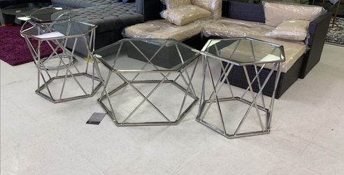 3 PCS metal glass Coffee table set✔️No credit check 👈👈 for Sale in Houston,  TX