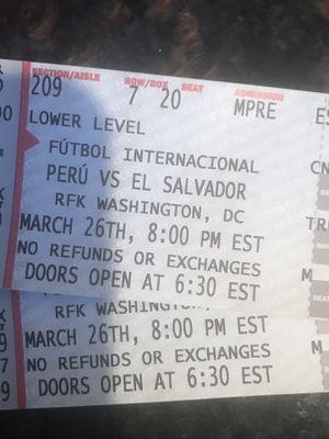 Peru vs El Salvador Tickets Pair for Sale in FX STATION, VA