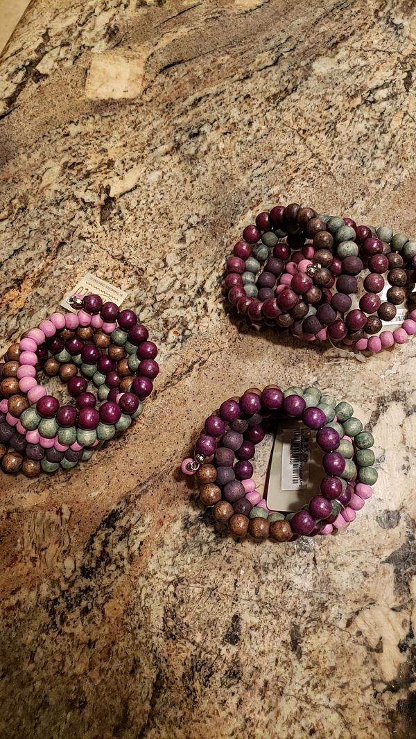 Wood bead bracelets. 3 total