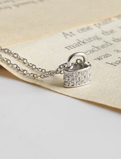 Sterling/Platinum Plated CZ Lock Style Necklace for Sale in Mount Clare,  WV