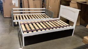 New Twin Bed with 2-Storage Drawers. White/Espresso for Sale in Hilliard, OH