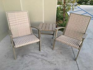 New in box 3 pcs steel large adirondack lounger porch chair and wicker outdoor patio furniture set with table weather resistant material light brown for Sale in Pico Rivera, CA