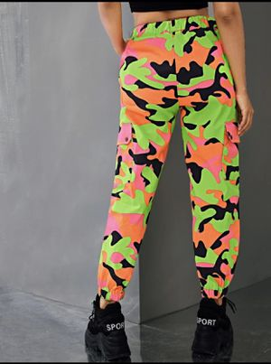 NEON CAMO PRINT POCKET SIDE UTILITY PANTS for Sale in Fort Lauderdale, FL