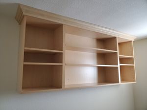Laminated wood shelves with crown molding for Sale in Hayward, CA